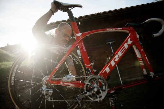 post-race bike cleaning at the Trek-Segafredo team hotel after stage 14 of the 99th Giro d'Italia 2016