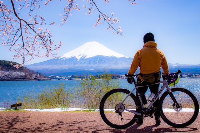ソロサイクリングで運動不足解消! グラベルロードで河口湖🌸桜ライド
