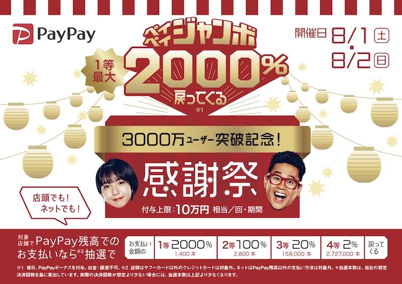 【8/1、2のみ!!】1等最大2000%バック!PayPay感謝祭開催中です!!